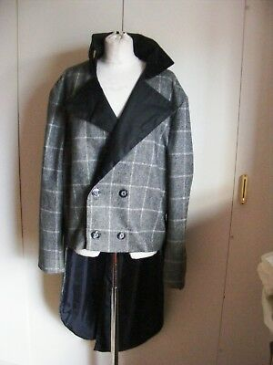 Theatrical Georgian tailcoat double breasted check pattern tail coat XXL Dickens