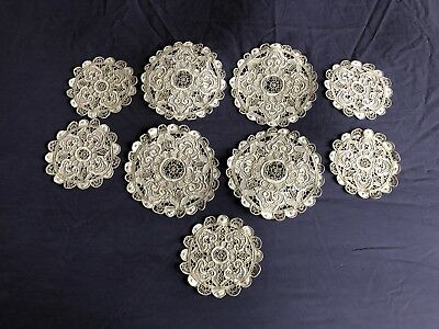 Awesome Vintage Linen Set 9 Madeira Work Hand Embroidered Doilies / Table Mats