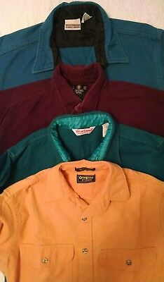 Lot of 4 Vintage Men's Heavy Flannel Shirts ~ Oshkosh B'Gosh, Field & Stream ++