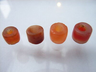 4 Ancient Neolithic Carnelian, Agate Beads, Stone Age, VERY RARE !!
