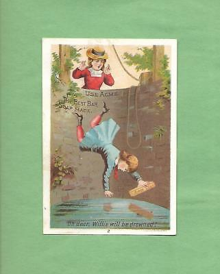 MOTHER WATCHES BOY FALL INTO WELL On LAUTZ BROS. SOAP Victorian Trade Card