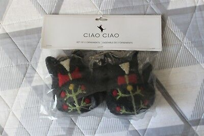 New Set of 2 Ciao Ciao Felted Wool Cat Christmas Ornaments Primitive Rustic