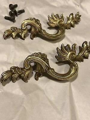 Pair Antique Brass Drawer Pulls Handles S Curve Ornate Leaves French Provincial