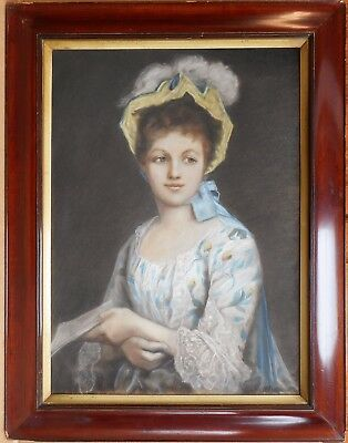 An Elegant Beauty. Original Pastel by Listed Artist Henry Vincent c1900