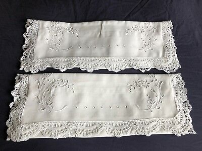 Pair Vintage Linen Hand Embroidered White Pillow Cases Reticella Lace Edgings