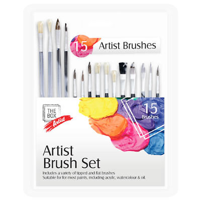 New 15pc Artists Paint Brush Set - Variety of Small & Round Tipped
