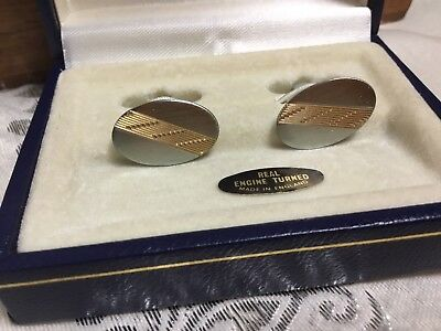 Vintage Real Engine Turned England Gold Silver Tone Cufflinks Cuff Links Boxed