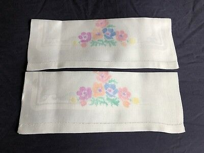 Pair Superb Vintage White Linen Damask Huckaback Hand Painted Guest Hand Towels