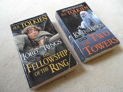 Lot of 2 J.R.R. Tolkien The Lord Of The Rings Paperback Books Part 1-2 Good