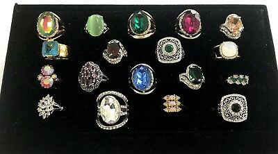 Vintage to NEW RING LOT Of 18 Glass RHINESTONES BLING