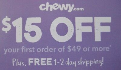 $15 off $49 chewy.com COUPON www.chewy.com pet cat dog food card exp 11/30/18