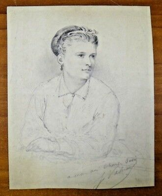 "Vintage Original Pencil Sketch Signed 7"" x 8.75"""