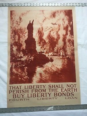 Original  WW1 Vintage 1917 That Liberty Shall not perish From The Earth  poster