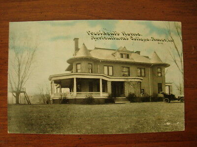 Old Vintage 1909 Photo Postcard Presidents Home Agricultural College Ames Ia