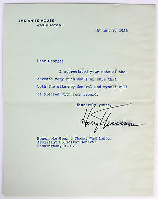 Harry S. Truman Signed 7x9 1946 Letter On White House Letter Head BAS #A08833