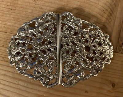 Antique Solid Sterling Hallmarked Silver Nurses Belt Buckle 55.4g