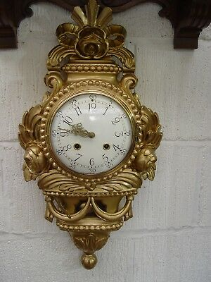 Swedish Westerstrand ,gustavian gilded carved limewood cartel wall clock, 1940