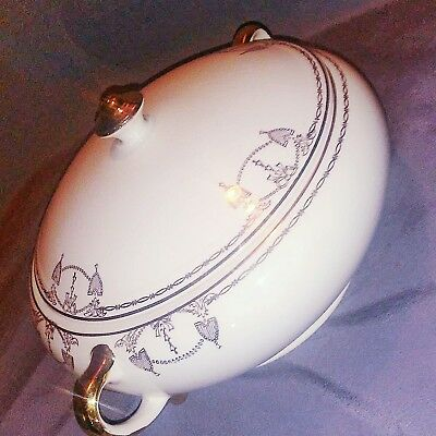 White /Lidded Commodore by SALEM, Trimmed & Designed w/23k Gold