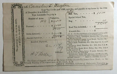 1869 Antique Document Cornelius L Layton Bedminster Township New Jersey Taxes