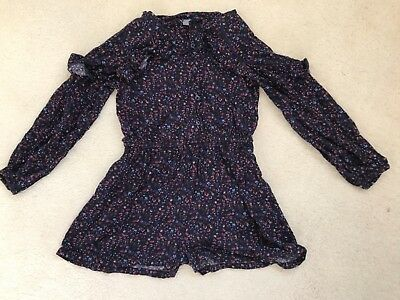 Girls Navy Floral Patterned Long Sleeve Playsuit Age 7 Years from Next