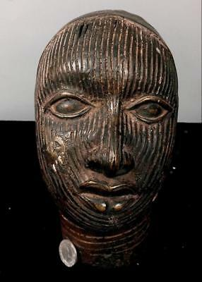 Old Tribal Large Ife Bronze King Head     ---- South West, Nigeria