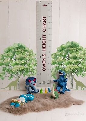 Personalised Grey Wood Wooden Height Growth Ruler Chart byBobos Den - Gift