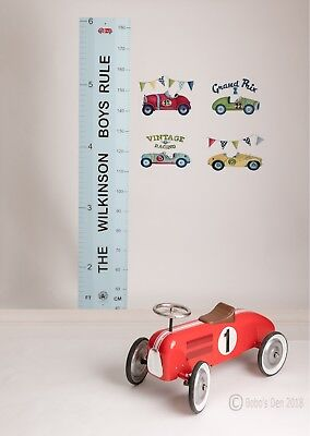 Personalised Blue Wood Wooden Height Growth Ruler Chart by Bobos Den - Gift