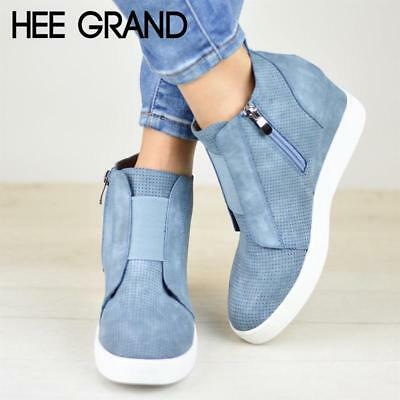 HEE GRAND Women Boots Slip On Wedge Solid Shoes Woman Ankle Boots