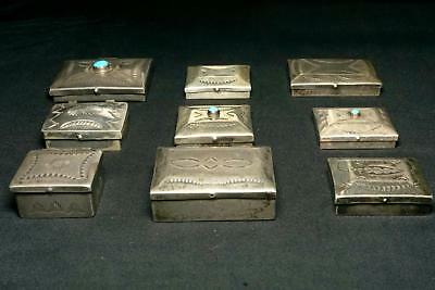 Set of 9 Old Pawn Silver Boxes  | Vintage Native American Jewelry