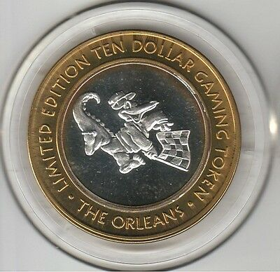 2007 The Orleans Las Vegas Alligator Checkers .999 Fine Silver $10 Casino Token