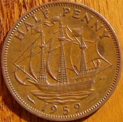 1959 English Half Penny (England, Great Britain, United Kingdom)
