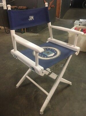 Vintage Solid Wooden White United States Air Force Foldable Director's Chair