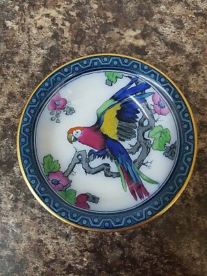 Gorgeous Antique Losol Ware Small Bowl Andes Pattern Macaw Glorious Colours