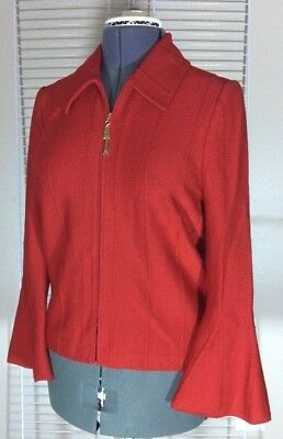 St. John Collection~Marie Gray RED Knit Zip-Up Sweater Jacket Bell Sleeves  12