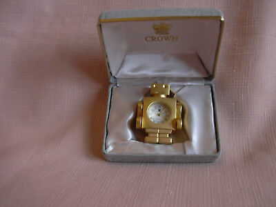 SALE PRICE  Novelty Miniature Clock Robot Gold ,