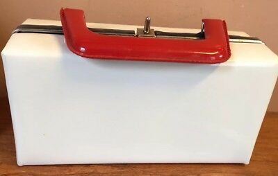 vintage purse Patent Leather 9x4x5 Red White And Blue