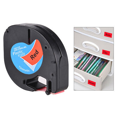 Black on Red Plastic Label Tape 12mmx4m for DYMO LT-100H Letra Tag Refill K5M4