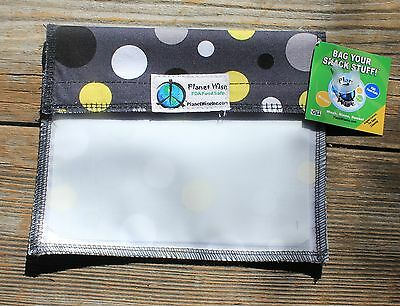 PLANET WISE Sandwich WINDOW SNACK BAG Dots Green Lunch Box US MADE baggie wrap
