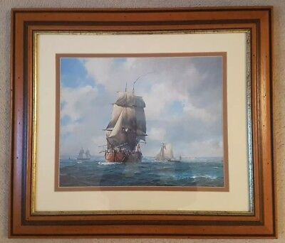 GEOFF HUNT: Cook's Endeavour Leaving Plymouth 1768 - framed print marine artist