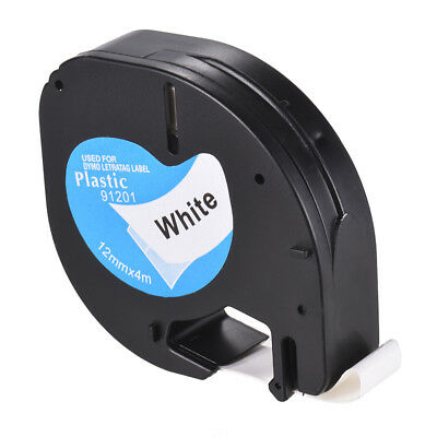 "91201 Compatible for DYMO Letratag White Plastic 12mm Label Tape Maker 1/2"" Y4M4"
