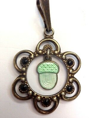 Super Cute! Sterling Silver Norway Mint Green Guilloche Enamel Acorn Pendant