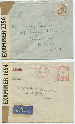 1940-42 4 COVERS, OPENED BY EXAMINER,LONDON  to NEW YORK