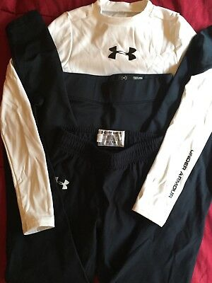 Under Armour Youth LOT 3: Black Leggings Bottoms White Top Kids Boys Girls Small