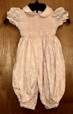 Vtg Infant Small Creations Lord & Taylor Pink Floral Smocked Romper - 12 Mon