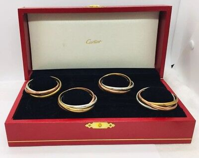 Cartier Authentic Silver Plated Copper & Bronze Set Of 4 Trinity Napkin Rings
