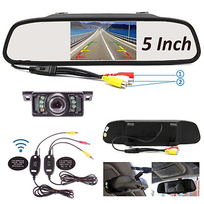 5''LCD Car TFT Monitor Mirror + Wireless Car Reverse Rear View Backup Camera Kit