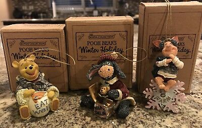 3 Disney Boyds Bears Ornaments Winter Holiday Pooh Piglet Eeyore Collection