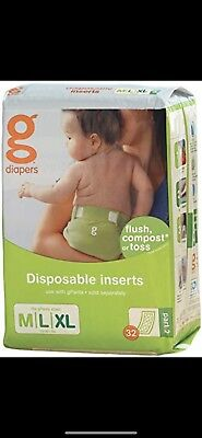 gDiapers disposable INSERT size M/L/XL 4X 32 inserts 16-36lbs NEW SEALED