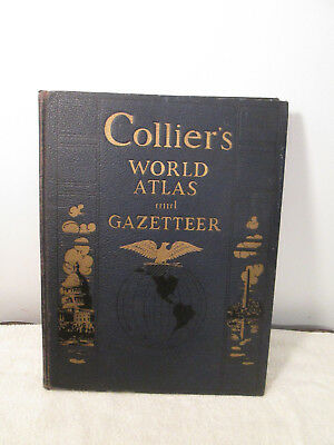 Vintage Collier's World Atlas And Gazetteer Blue/gold
