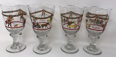 13 Libbey Christmas In New York Winter Chuck Fischer  Glasses Goblet Taxi City
